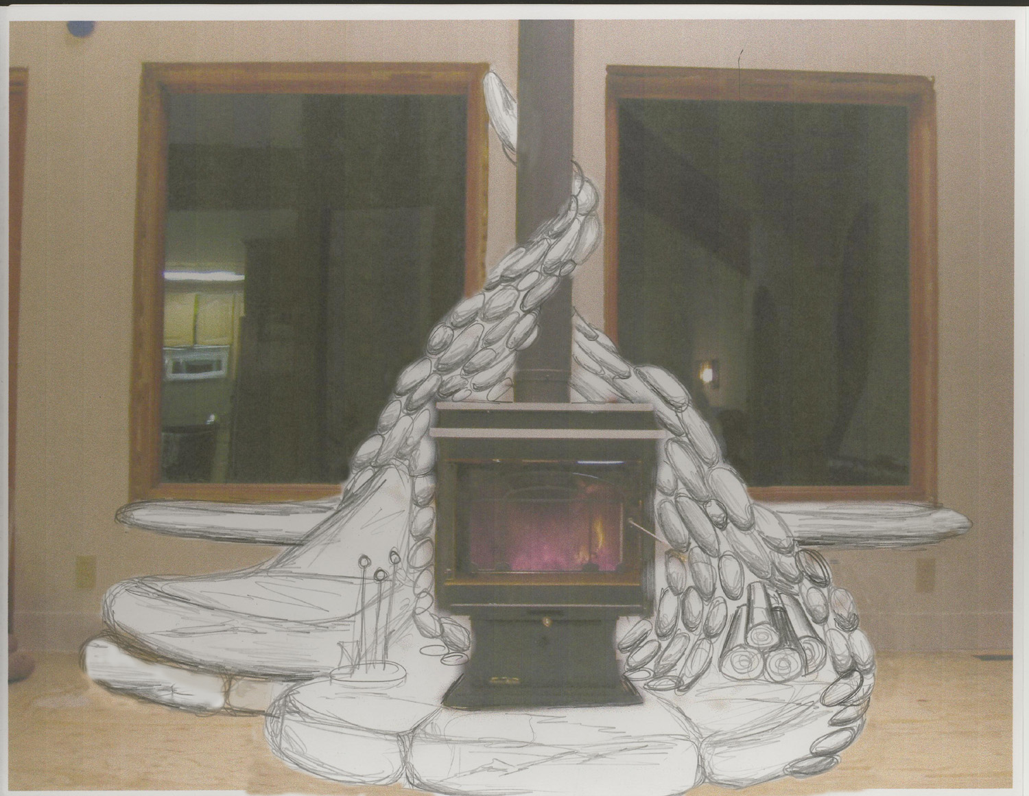The Gallery For Wood Stove Hearth Designs Ideas